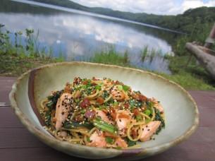 鮭や行者ニンニクが入った、和風仕立ての美味しいパスタが出来ました