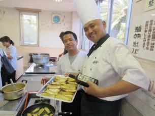 上天草市の飲食店さん向けオリーブ料理講習会でも、「ジャンボエリンギのオリーブオイル焼き」を御披露させて頂きました