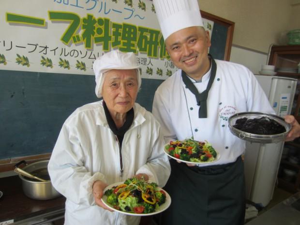 「天草海鮮蔵」の看板女将であり、「イルカの里・加工グループ」代表も務める野崎富美子さんは、伝統的食材である「カジメ」と大豆を使った佃煮を持参して下さいました。EXVオリーブオイルとの相性も抜群でした!